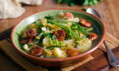 Супа от картофи, боб и наденица