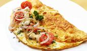 Омлет със спанак, сирене и домати