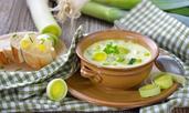 Крем супа с праз лук, картофи и моркови
