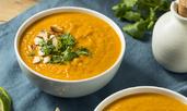 Крем супа със сладки картофи, джинджифил и фъстъчено масло