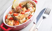 Сьомга с чери доматки, пармезан и сметана