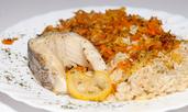 Печен шаран с кисело зеле и ориз