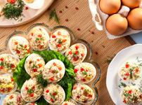 Пълнени яйца с пилешко и майонеза