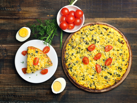 Пирог с лук и яйца