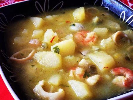Супа от картофи с морски дарове
