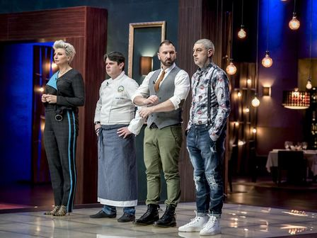 Chef Силвена Роу, Chef Андрей Стоилов, Chef Андре Токев, Chef Петър Михалчев. Снимка: MasterChef България